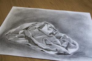 Zeichenübung Faltenwurf - Grafit und Bleistift auf Papier
